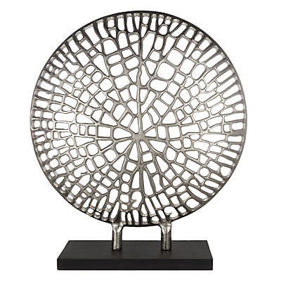 Image of Libra Coral Plaque On Stand Sculpture, Silver