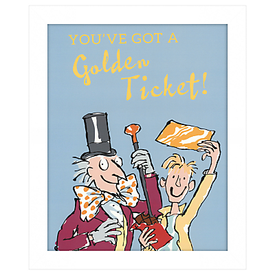John Lewis – You've Got A Golden Ticket Framed Print, 27 x 33cm