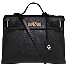 Buy Kurt Geiger Britt Ostrich Leather Tote Bag, Black Online at johnlewis.com