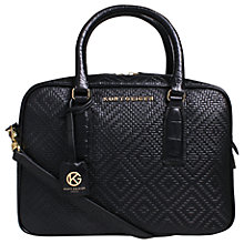 Buy Kurt Geiger Abigail Woven Leather Medium Bowling Bag, Black Online at johnlewis.com