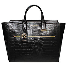 Buy Kurt Geiger Beatrice Croc Leather Tote Bag, Black Online at johnlewis.com