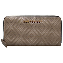Buy Kurt Geiger Woven Leather Zip Around Wallet Purse, Taupe Online at johnlewis.com