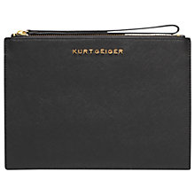 Buy Kurt Geiger Saffiano Leather Wristlet Pouch, Black Online at johnlewis.com