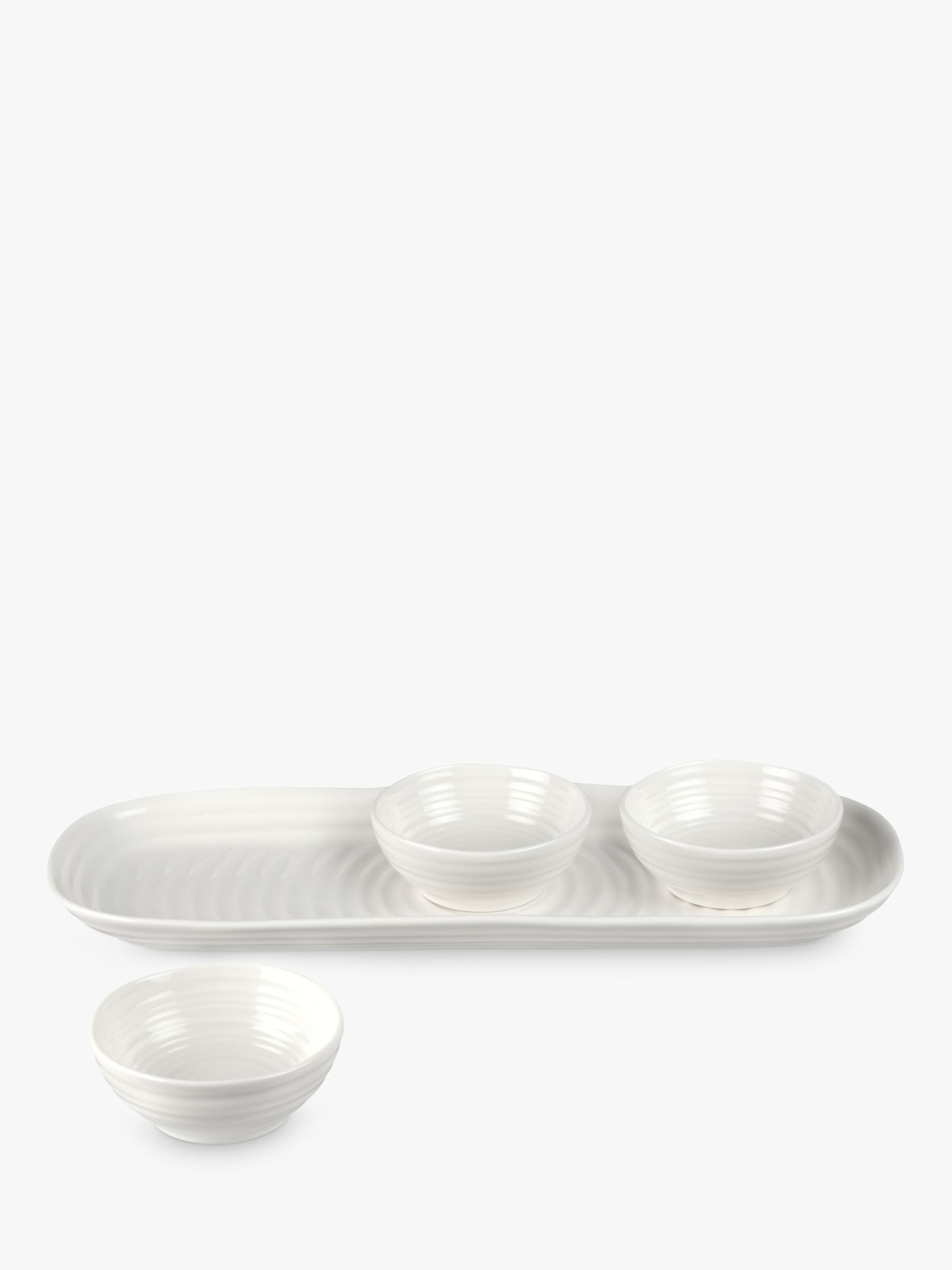 Sophie Conran Sophie Conran for Portmeirion Dip Bowls On Tray, Set of 3, White