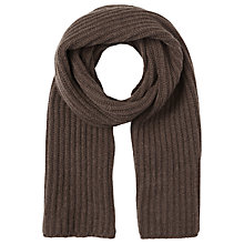 Buy Jigsaw Sian Chunky Rib Scarf, Chocolate Online at johnlewis.com