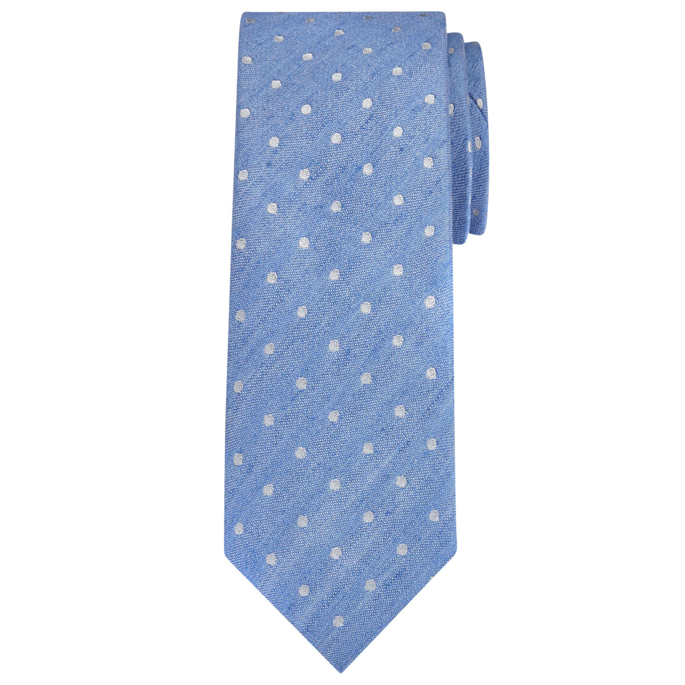Richard James Mayfair Richard James Mayfair Spot Linen Silk Tie, Sky Blue/White