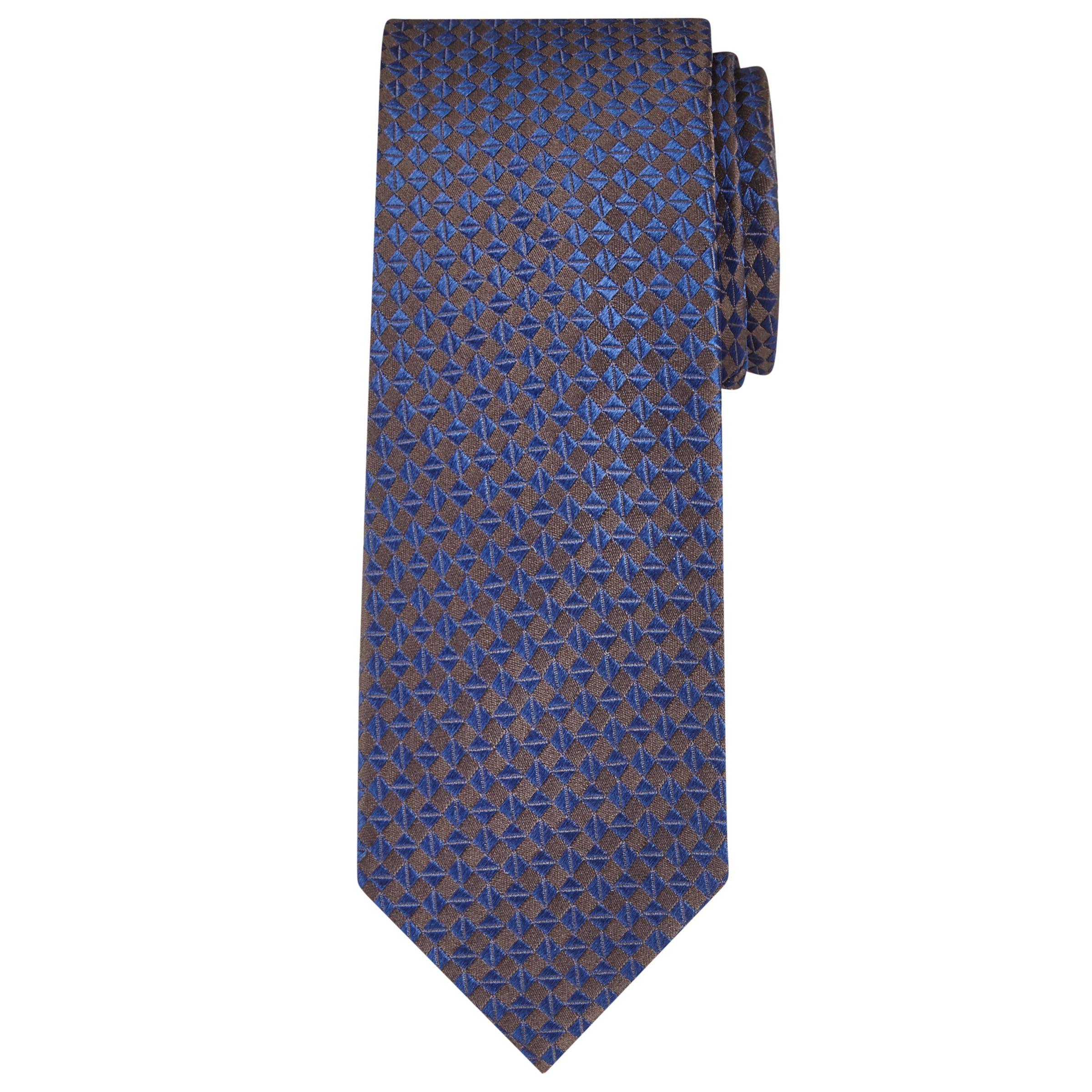 Richard James Mayfair Richard James Mayfair Geometric Silk Tie, Pewter/Navy