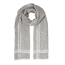 Buy East Sequin Border Wool Scarf, Ash Online at johnlewis.com