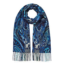 Buy East Cashmink Paisley Scarf, Blue Online at johnlewis.com