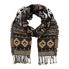 Buy East Aztec Woven Scarf, Cocoa Online at johnlewis.com