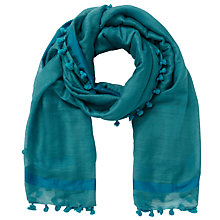 Buy East Wool Silk Pom Pom Scarf, Teal Online at johnlewis.com