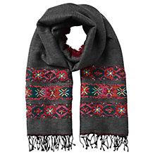 Buy East Double Face Wool Embroidered Scarf, Slate Online at johnlewis.com