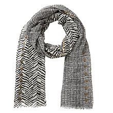 Buy East Graphic Sequin Border Wool Scarf, Neutral Online at johnlewis.com