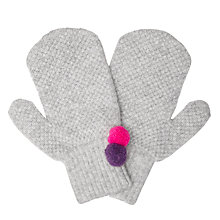 Buy Jigsaw Children's Double Pom Knitted Gloves, Grey Online at johnlewis.com