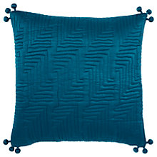 Buy west elm Washed Silk Quilted Cushion, Teal Blue Online at johnlewis.com
