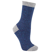 Buy John Lewis Wool and Silk Blend Ankle Socks, Navy/Grey Online at johnlewis.com
