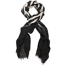 Buy Chesca Zebra Print Scarf with Dip Dye Ends, Black/White Online at johnlewis.com