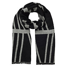 Buy Jacques Vert Geo Stripe Scarf, Black Online at johnlewis.com