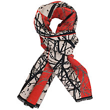Buy Chesca Ruby Striking Forest Pattern Scarf, Red/Black Online at johnlewis.com