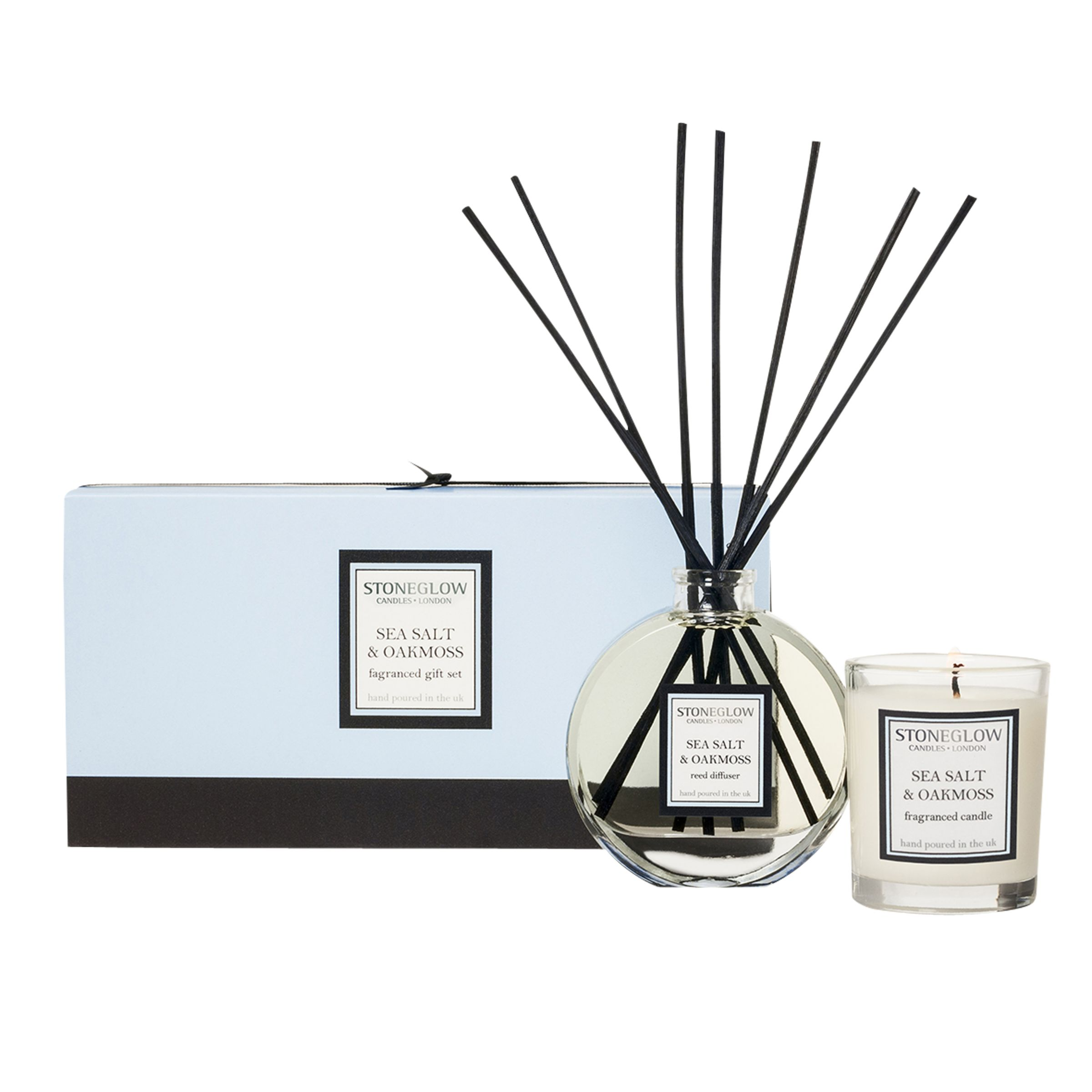 Stoneglow Stoneglow Scented Candle and Diffuser Gift Set, Seasalt and Oakmoss
