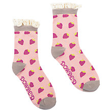 Buy Powder Short Strawberry Print Lace Top Ankle Socks, Pink/Grey Online at johnlewis.com