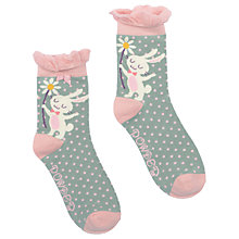 Buy Powder Short Bunny and Flower Ankle Socks, Green/Pink Online at johnlewis.com