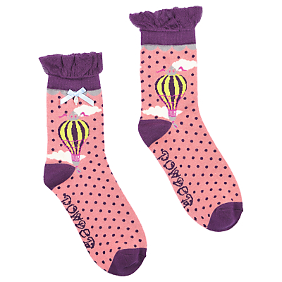 Powder Short Hot Air Balloon Print Ankle Socks, Pink/Plum