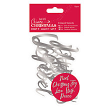 Buy Docrafts Foiled Christmas Words, Pack of 12, Silver Online at johnlewis.com