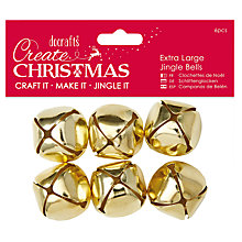 Buy Docrafts Extra Large Jingle Bells, Pack of 6, Gold Online at johnlewis.com