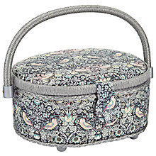 Buy Liberty The Strawberry Thief Oval Sewing Box, Black Online at johnlewis.com