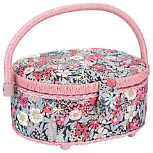 Buy Liberty Ciara Oval Sewing Box, Pink Online at johnlewis.com