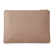Buy Whistles Matte Croc Medium Leather Clutch Bag Online at johnlewis.com