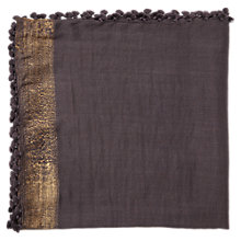 Buy Jigsaw Sanya Metallic Pom Scarf, Charcoal Online at johnlewis.com