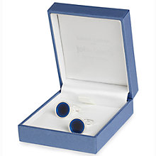 Buy Simon Carter for John Lewis Silver Plated Round Enamel Cufflinks, Navy Online at johnlewis.com