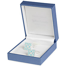 Buy Simon Carter for John Lewis Silver Plated Square Embossed Cufflinks, Blue Online at johnlewis.com