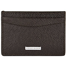 Buy BOSS Signature Leather Card Holder, Dark Brown Online at johnlewis.com