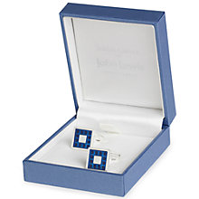 Buy Simon Carter for John Lewis Silver Plated Enamel Dot Square Cufflinks, Navy Online at johnlewis.com