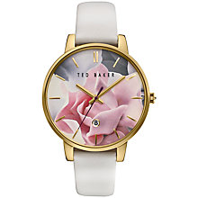 Buy Ted Baker TE10030691 Women's Katie Leather Strap Watch, White/Multi Online at johnlewis.com