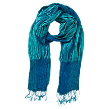 Buy East Silk Ruched Scarf, Sapphire Online at johnlewis.com