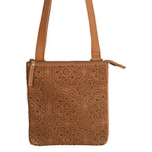 Buy Fat Face Leather Laser Cut Across Body Bag, Tan Online at johnlewis.com