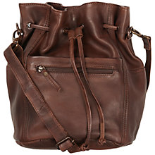 Buy Fat Face Leather Slouchy Duffle Bag, Brown Online at johnlewis.com