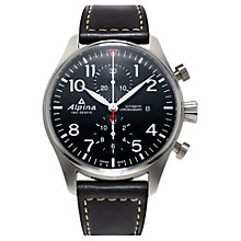 Buy Alpina AL-725B4S6 Men's Startimer Pilot Automatic Chronograph Date Leather Strap Watch, Black Online at johnlewis.com