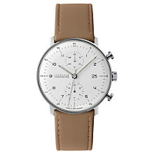 Buy Junghans 027/4502.00 Men's Max Bill Chronoscope Date Leather Strap Watch, Tan/Grey Online at johnlewis.com