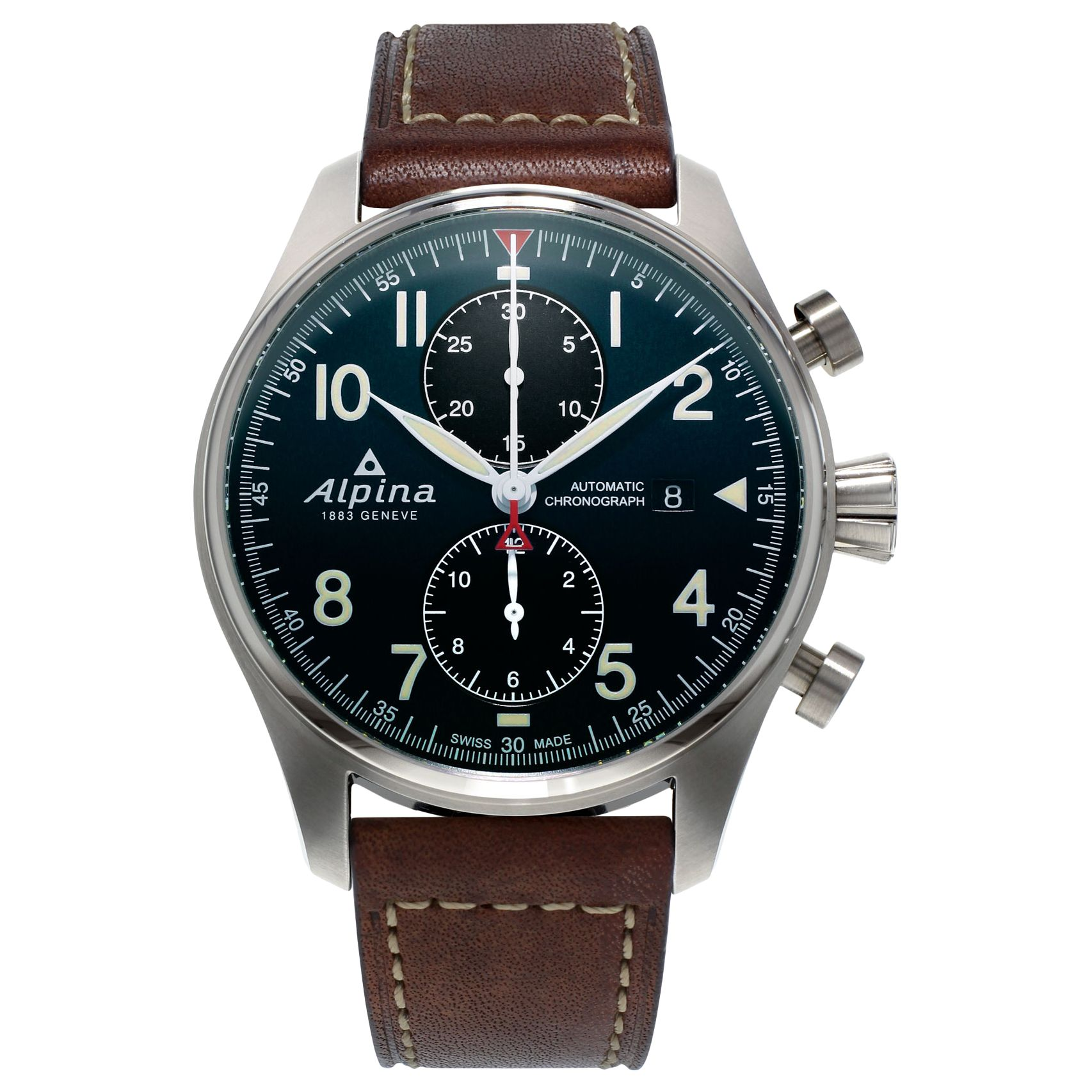 Alpina Alpina AL-725N4S6 Men's Startimer Pilot Automatic Chronograph Date Leather Strap Watch, Brown/Dark Blue