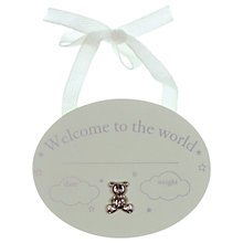 Buy John Lewis Welcome To The World Hanging Wall Plaque, One Size Online at johnlewis.com
