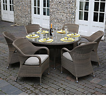 Buy 4 Seasons Outdoor Sussex 6 Seater Dining Set With Lazy Susan, Taupe Online at johnlewis.com