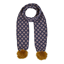 Buy White Stuff Dotty Pom Pom Scarf, Navy Online at johnlewis.com