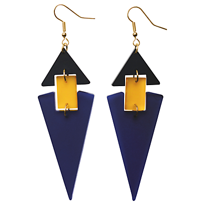 Toolally Diamond Shaped Hook Drop Earrings, Blue/Yellow