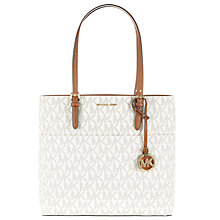 Buy MICHAEL Michael Kors Bedford Large Leather Pocket Tote Bag, Vanilla Online at johnlewis.com