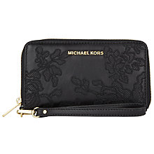 Buy MICHAEL Michael Kors Jet Set Travel Leather Large Lace Phone Purse, Black Online at johnlewis.com